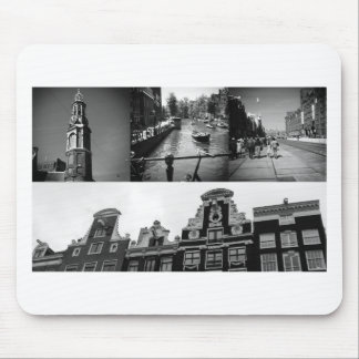 Collage de photo Amsterdam 2 en noir et blanc Tapis De Souris