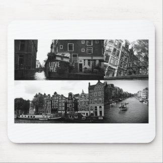 Collage de photo Amsterdam 3 en noir et blanc Tapis De Souris