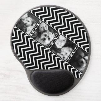 Collage de photo avec le motif noir et blanc de Ch Tapis De Souris Gel