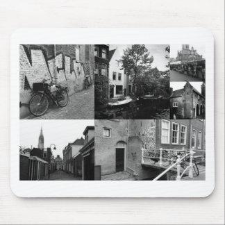 Collage de photo Delft 2 en noir et blanc Tapis De Souris