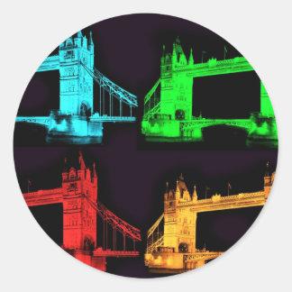 Collage de pont de tour sticker rond