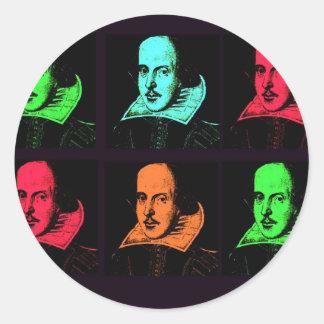 Collage de William Shakespeare Adhésifs Ronds