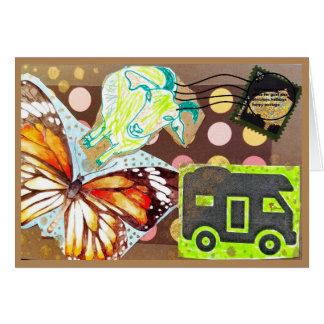 Collage Eclectic Brown Goat Butterfly RV Stamp Card