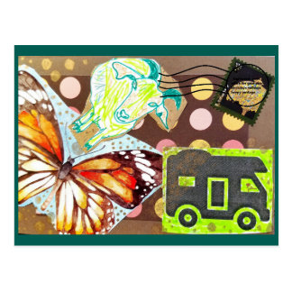 Collage Eclectic Brown Goat Butterfly RV Stamp Postcard