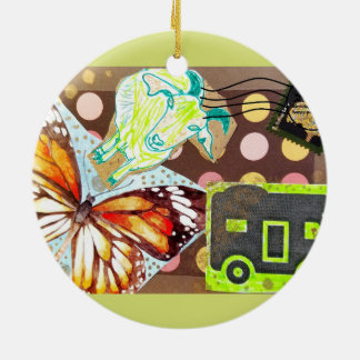 Collage Eclectic Brown Goat Butterfly RV Stamp Round Ceramic Ornament