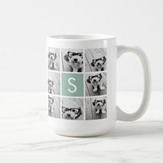 Collage en bon état et blanc de photo avec le mug blanc
