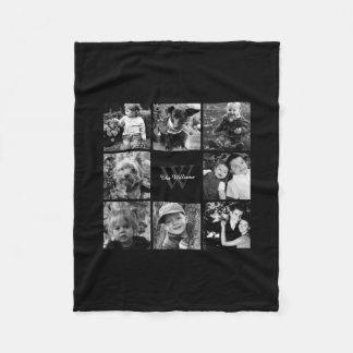 Collage fait sur commande noir de photo de famille couverture polaire