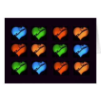 Collage fermé la fermeture éclair de coeurs carte de vœux
