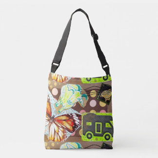 Collage Goat RV Stamp Butterfly Mixed Media Brown Crossbody Bag