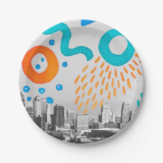 "Collage Hand Painted NYC Photo Paper Plates 7"" 7 Inch Paper Plate"
