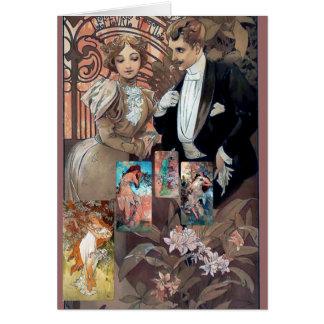 collage love relationship mucha art flirt card