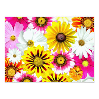 Collage mignon de fleur carton d'invitation  13,97 cm x 19,05 cm