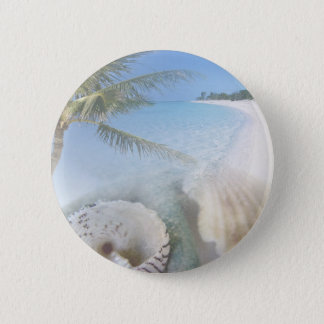 collage  mix shells and palm 2 inch round button