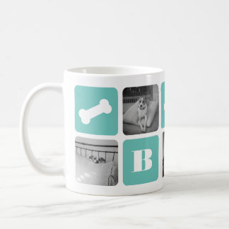 Collage moderne de photo de monogramme d'animal mug blanc