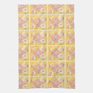 Collage of Seashells Shades of Gold & Pink Kitchen Towel