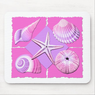 Collage of Seashells Shades of Pink Mouse Pad
