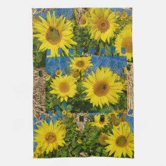 Collage of yellow sunflowers in summer, kitchen towel