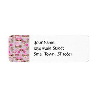 Collage rose Girly mignon de motif de fille de sin Étiquettes D'adresse Retour