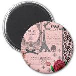Collage rose vintage de Paris Magnet Rond 8 Cm