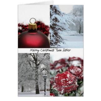 Collage rouge d'hiver de Noël jumeau de soeur Carte De Vœux