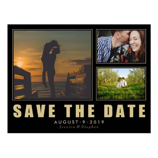 Collage Save The Date 3 Photo Modern Postcard