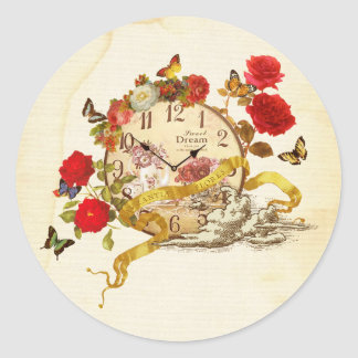 Collage seal of clock and flower