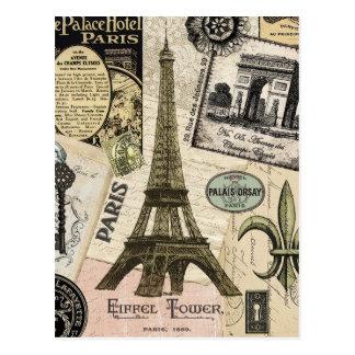 Collage vintage moderne de voyage de Français Cartes Postales