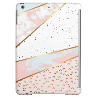 Collage,white marble,gold,silver,black,white,hand cover for iPad air