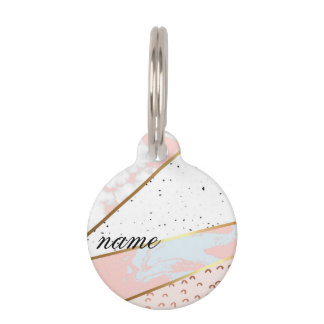 Collage,white marble,gold,silver,black,white,hand pet ID tag