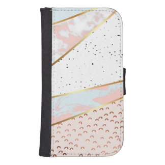 Collage,white marble,gold,silver,black,white,hand samsung s4 wallet case