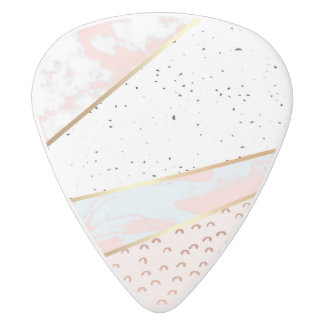 Collage,white marble,gold,silver,black,white,hand white delrin guitar pick