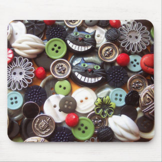 Collage with Black Cheshire Cat Buttons Mouse Pad