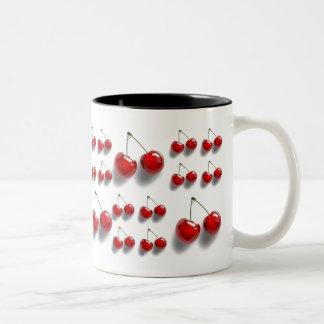 collage with cherries Two-Tone coffee mug