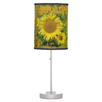 Collage, yellow, sunflowers , summer table lamp