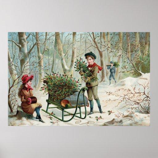 Collecte du houx c.1890 de Noël Posters