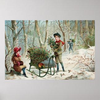 Collecte du houx c.1890 de Noël Poster