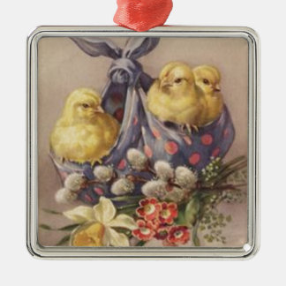 Collecting Easter Chicks Metal Ornament