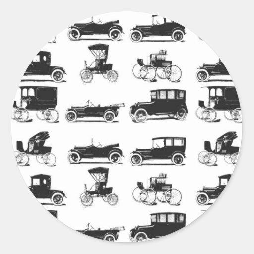 Collection de vieilles et classiques voitures autocollant rond