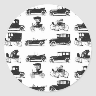 Collection of old and classic cars classic round sticker