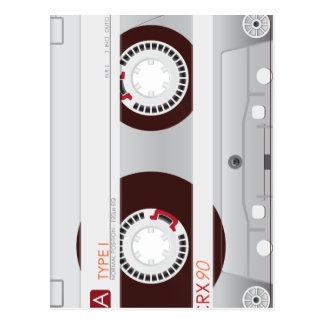 Collection of Retro Audio Cassette Tapes Postcard