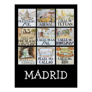 Collection of street signs from Madrid, Spain