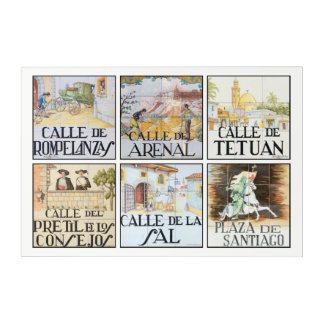 Collection of street signs from Madrid, Spain Acrylic Wall Art