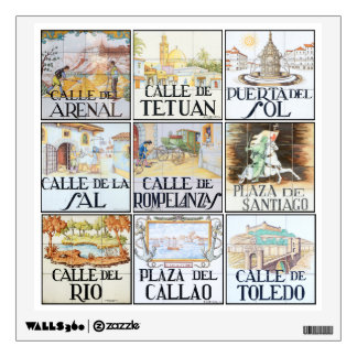 Collection of street signs from Madrid, Spain Wall Decal