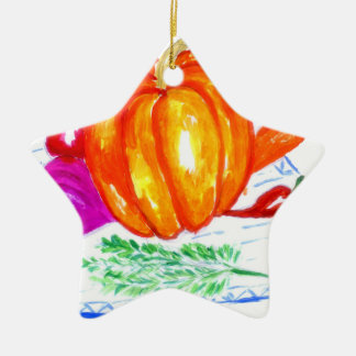Collection of Vegetables Ceramic Ornament