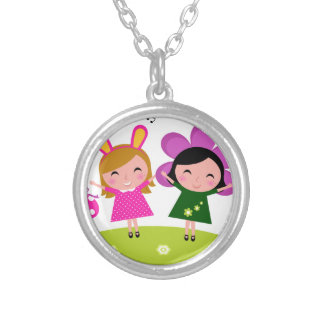 COLLECTION WITH KIDS EASTER BUNNIES SILVER PLATED NECKLACE