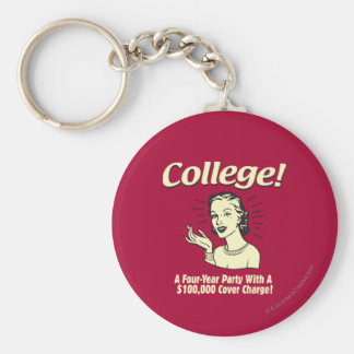 College: 4 Year Party 100,000 Cover Basic Round Button Keychain