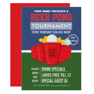 College Beer Pong Tournament add logo Ad Card