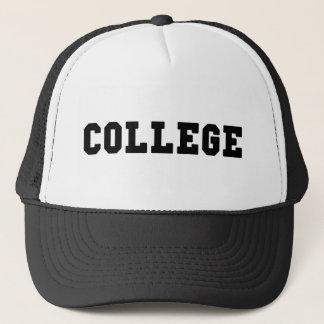 College Black Lettering Trucker Hat