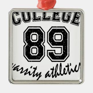 college design cute Silver-Colored square ornament