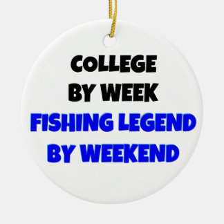 College Fishing Legend Round Ceramic Ornament